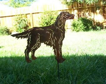 Irish setter steel garden art dog sculpture / memorial stake