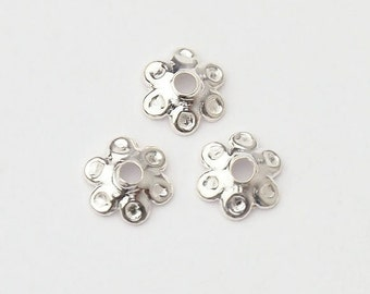 40 of 925 Sterling Silver Dotted Bead Caps 5.5 mm. :th1720
