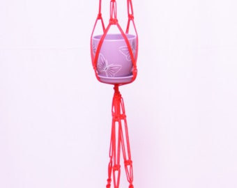 Red DOUBLE X-Large Macrame  Plant  Hanger 5mm - Hanging Planter 64 inches (160cm) Hanging Pot Holder Wall plant hanger - Hanging Pot Planter