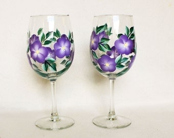 Hand Painted Wine Glasses, Purple Floral