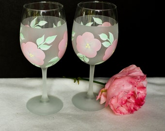 Hand Painted Wine Glasses, Frosted Pink Foral