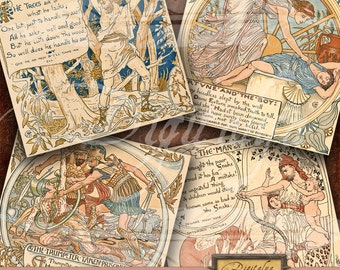 AESOP FABLES (7) - Digital Collage Sheet - Art Nouveau Square Cards 4 inch & Squares 2 inch - Buy 3 Get 1 Extra Free - Direct Download