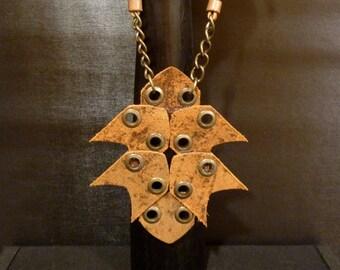 ARROW HEADS Statement Necklace Distressed Golden Tan Belt Leather