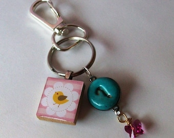 Keychain Purse Charm/ Fob pink with white daisy and little bird Scrabble Tile with an ? charm made of clay