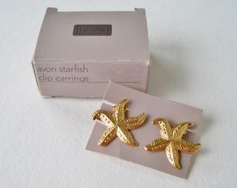 Vintage 1987 Avon Starfish Star Fish Goldtone Gold Tone Five Pointed Sea Creature Beach Clip On Earrings in Original Box NIB
