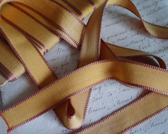 LAST ONE - Antique early French 1900s Unique silk blend ribbon, 2.5 yards