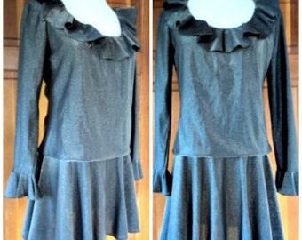 Vintage 60s Dress Gunmetal Sparkle Micro Mini Ruffles Blouson 70s Holiday 36 B Med