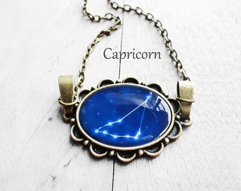 """Get 15% OFF - Handmade Resin """"Capricorn"""" Constellation Sign Antique Bronze Oval Pendant Necklace - Mother's Day SALE 2017"""