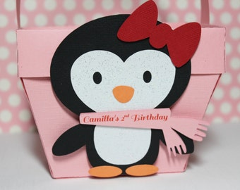 Penguin - Winterland - Favor Box - Treat Box - Goodie Bag - Candy - Set Of 10