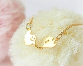 Smiley Ghosts necklace / choose your color / gold and silver
