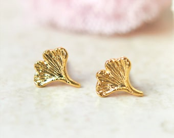Tiny Ginkgo leaf earrings / choose your color / gold and silver