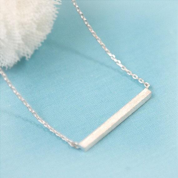 Matt Silver Bar Necklace