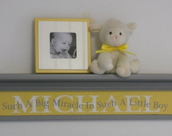 "Yellow Gray Baby Nursery Wall Decor Customized 30"" Grey Shelf with Kids Name MICHAEL - Quote Sign - Such A Big Miracle In Such A Little Boy"