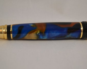 Blue / Black / Gold Acrylic Pen with 24K Gold Plated Accents