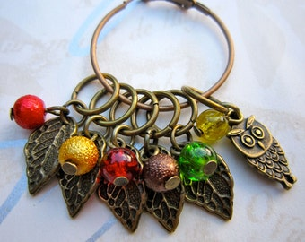Owl stitch markers - Leafy stitch markers - Autumn Fall stitch markers