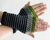 Fingerless Gloves, Wrist Warmers, Black and Silver Merino Wool