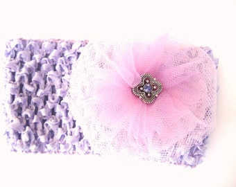 Pink and Purple Hair Bow - Tulle with Jeweled Center