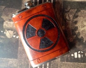 Radiation symbol Leather 8oz Hip Flask - Made to Order