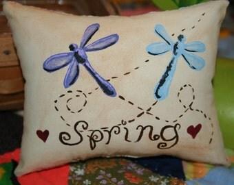 Hand Painted - Spring - Little Pillow - Tuck - Bowl Filler - Dragonflys - Original Design - NBCOFG