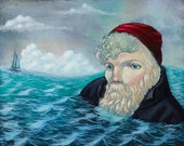 Old man and the sea, bay dreaming, swimming, fishing, pop surrealism, lowbrow, lowbrow art, art painting, acrylic painting, ocean, nordic