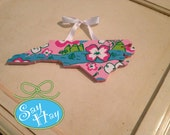 "Preppy North Carolina State hand painted Cutout 12"" inspired by Lilly Pulitzer"