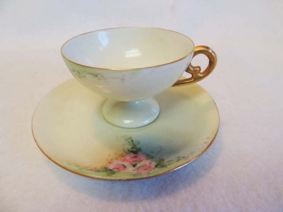 Vintage Footed DEMITASSE CUP & SAUCER E. S. Germany c. 1910 Hand Painted Roses