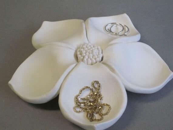 Ooak Ceramic Flower Bloom Jewelry Holder Floral Sculpture