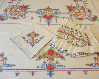 Hand Made Tablecloth 86 X 68 and Eight Matching Napkins Cross Stitch