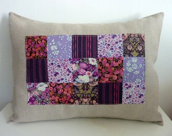 Blackberry Liberty of London Patchwork Pillow on Natural Linen. 12x16