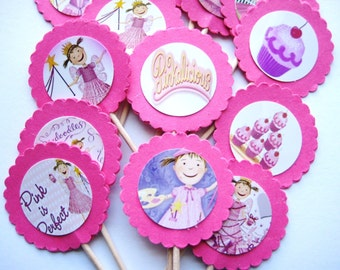 15 Pinkalicious Party Picks - Cupcake Toppers - Toothpicks - Food Picks - die cut punch FP339
