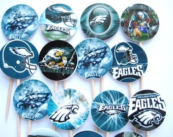 15 Philadelphia Eagles Football Party Picks - Cupcake Toppers - Toothpicks - Food Picks - Party Supplies FP399