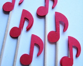 24 Red Musical Note Party Picks - Cupcake Toppers - Toothpicks - Food Picks - die cut punch FP429