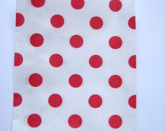 20 Red Dot Mini  Bitty Bags - Party Favor - Candy - Party Supplies A224
