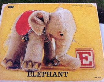 SALE Elephant JAYMAR Puzzle Vintage 50s or Earlier Childs Elephant Puzzle E Alphabet Block ELEPHANT Mary Warren Mid Century Retro Home Decor