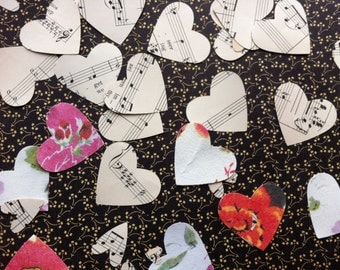 Vintage Paper Hearts Hand Cut Sheet Music Bach 1893 Paper 150 Hearts Two Sizes Paper Ephemera Wedding Confetti Valentine's Day TREASURY Item