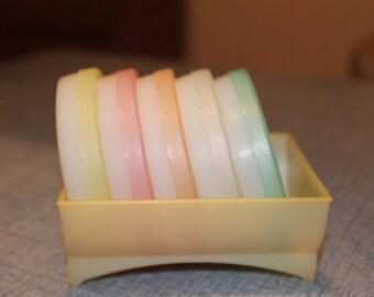 Vintage Pastel Tupperware Pinwheel Coasters and Tray Orlando, FL 5 Coasters Cool
