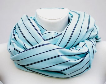 Huge infinity scarf, shrug, shawl, cowl and hood in one piece, striped light teal color - READY to ship