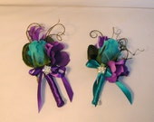 Peacock Wedding Boutonniere, Teal Rose Bud, Peacock Eye Feather and Purple Hydrangeas