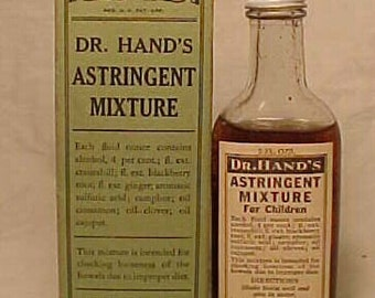c1940 Dr. Hand's Astringent Mixture for Children Philadelphia, PA.,Full with Box & Label, Paper Labeled Medicine bottle