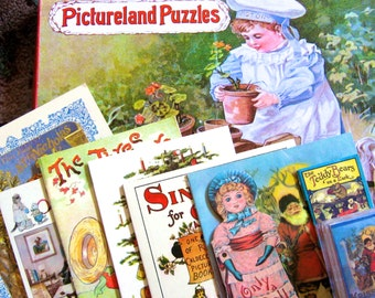 TAKE 20% OFF FOURTEEN Vintage Turn of The Century Treasure House Child Puzzle & Miniature Book Collection