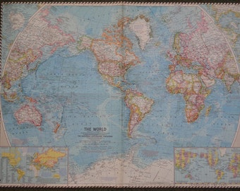 """Large Colorful Wall Map 24""""x19"""" World Map Vintage 1960 National Geographic Folded"""