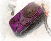 Steam Punk Altered Tin Credit Card Case, Purple,  MADE TO ORDER