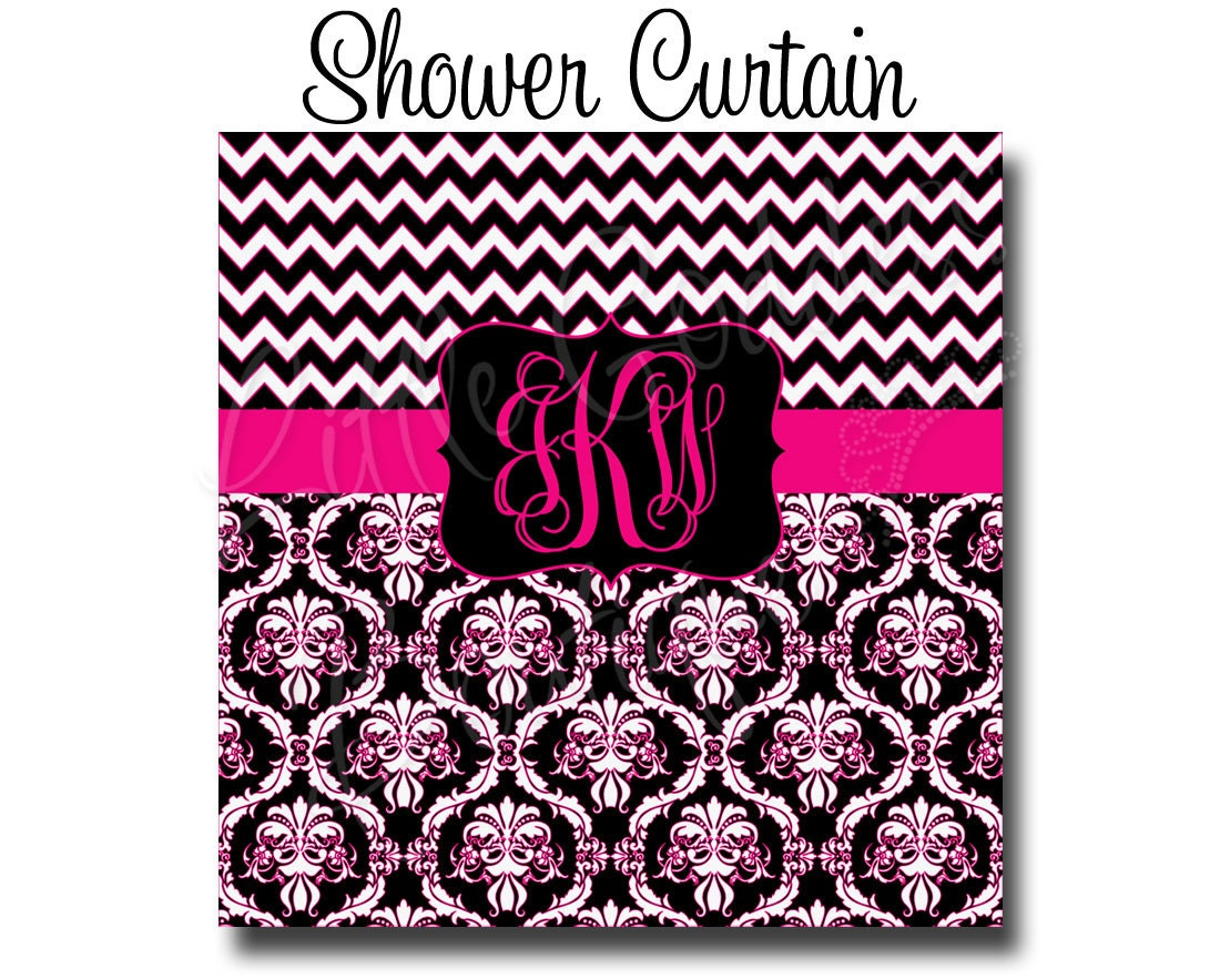 Custom Personalized Monogram Shower Curtain You Choose Size