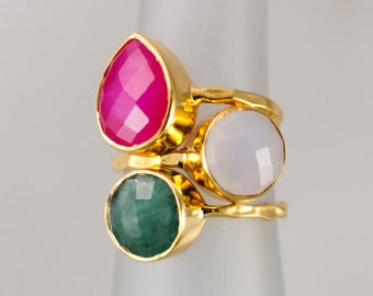 Size 5 - Gemstone Statement Ring - Stacking Ring - Stackable Rings - Birthstone Ring-  Bezel Rings - Gold Ring -