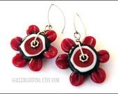 35% OFF - Lampwork glass earrings - Red Flowers - Sterling silver