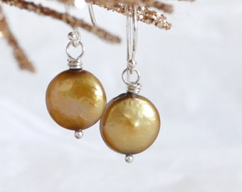 Golden Brown Coin Freshwater Pearl Earrings Argentium Silver French Hoops, June Birthstone, Gift Under 20