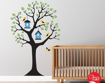 Wall Decals Baby Nursery - Tree Decal with birds and birdhouses - Tree Wall Sticker Baby Nursery Decor - Tree Mural Decal