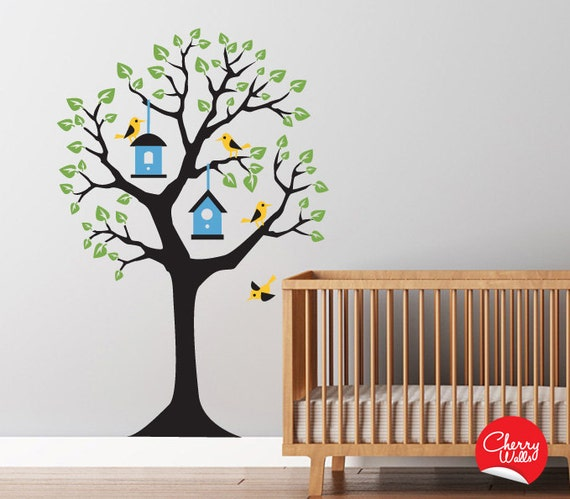decals baby nursery baum aufkleber mit v geln und. Black Bedroom Furniture Sets. Home Design Ideas