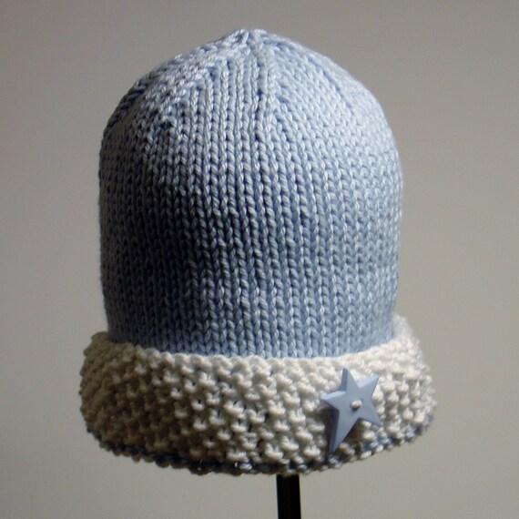 PDF PATTERN:  Watch Cap Seed Stitch Brim Infant, Toddler, Children's Hat