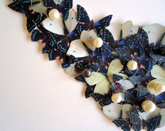 Butterfly Bib Statement Necklace Black White Blue